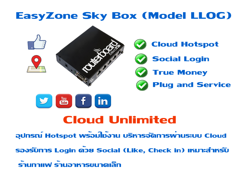 EasyZone Sky Box (Model LLOG) 15,900 �ҷ �Ѵ�� LOG ��� Billing �� Cloud (Unlimited users)